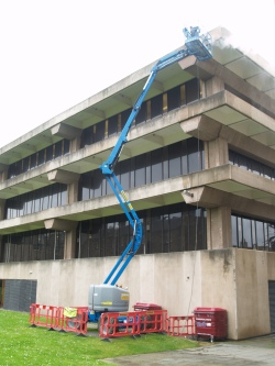 Steam cleaning of the north elevation of the Main Library building